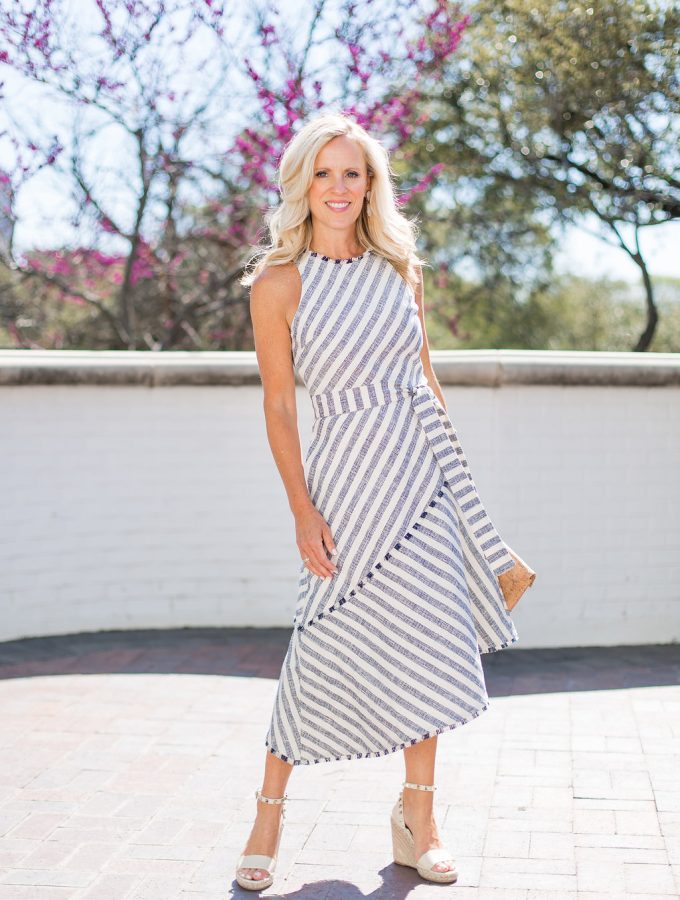 Alicia Wood, Dallas Lifestyle blogger, Dallas Fashion Blogger, Dallas Home Blogger, Banana Republic Tweed Stripe Asymmetrical Hem Dress, Rockstud espadrilles