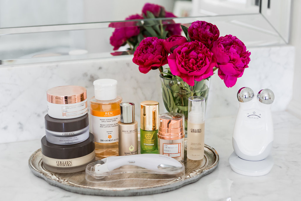 Nighttime Skincare Routine, Clean Beauty Nighttime Skincare, Alicia Wood, Dallas Lifestyle Expert, Colleen Rothschild, Juice Beauty, Jamie O'Banion, GloPro, Ren Skincare, NuFace Trinity