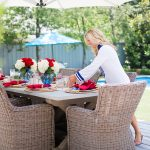 Alicia Wood, Dallas Lifestyle Blogger, Dallas Fashion Blogger, Dallas Home Blogger, July 4th Tablescape, Fourth of July Tablescape, Kingsley Bate Sag Harbor Chair, Woven Dining Chair, Outdoor Dining