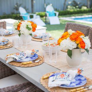 Juliska Oceana Dinnerware, Bamboo Flatware, Outdoor entertaining in Dallas, Outdoor Dining Ideas