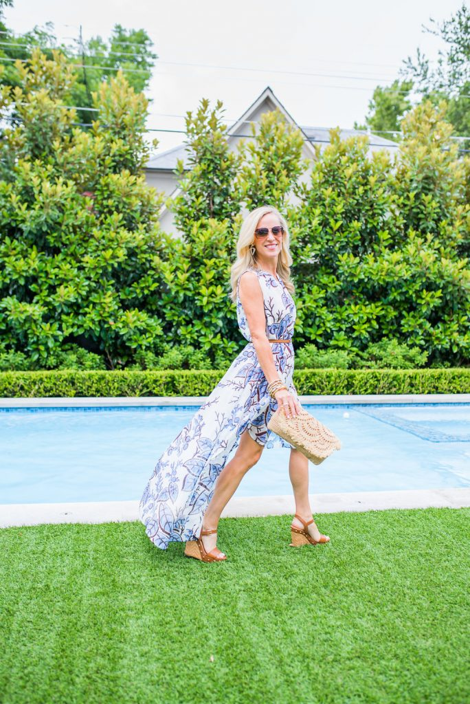 Alicia Wood, Dallas Lifestyle Expert, Dallas Lifestyle Blogger, Dallas Fashion Blogger, Clotheshorse Anonymous, Thakoon Autumn floral Dress, How to wear a dress as a swim cover up,