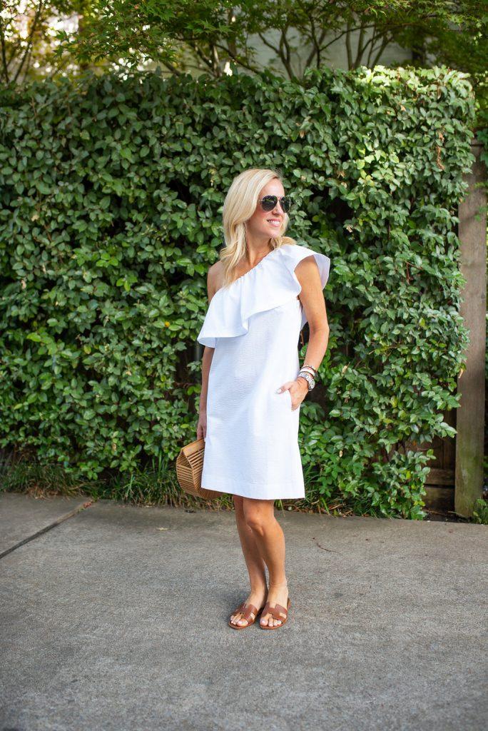 Summer Favorite: Bright White One Shoulder Ruffle Dress