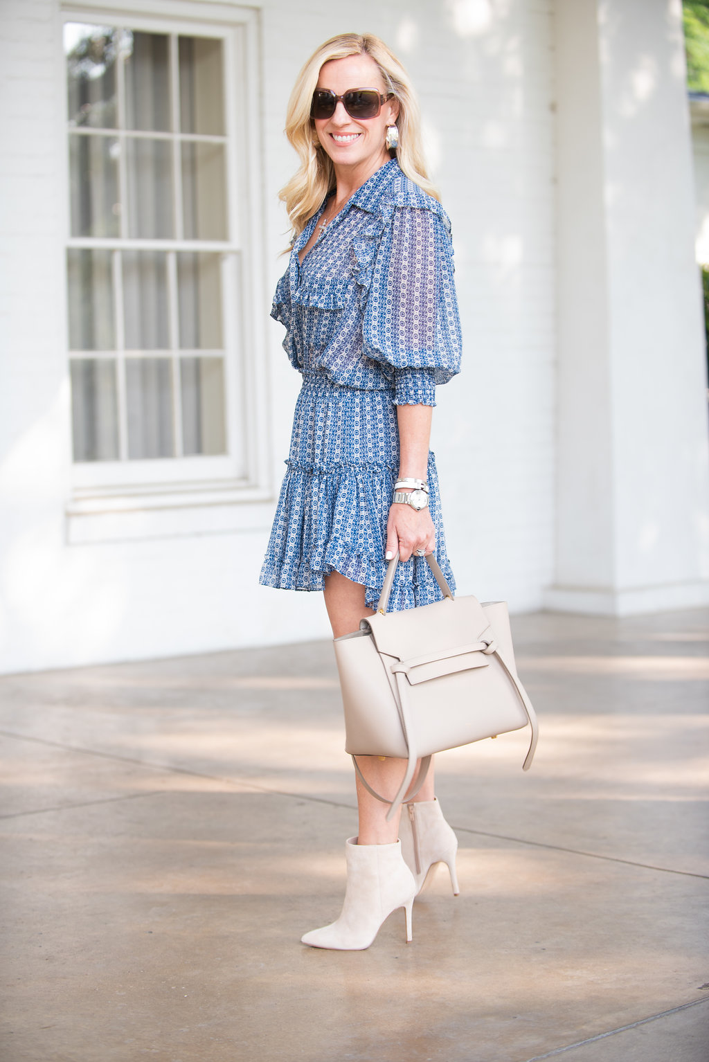 Alicia Wood, Dallas Lifestyle Expert, Dallas Fashion Blogger, Misa Los Angeles Lillian Printed Ruffle Mini Shirtdress, Fall Trends 2018, Nude Suede Booties, Celine Belt Bag