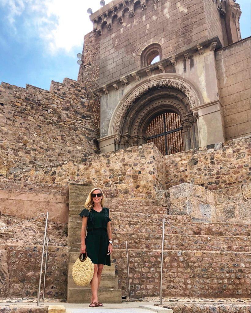 Alicia Wood, Dallas Lifestyle Blogger, Dallas Travel Blogger, Dallas Fashion Blogger, Teatro Romano in Cartagena, Parker Remington Combo Dress, Green Ruffle Silk Dress, What to Wear on a SeaDream Yacht