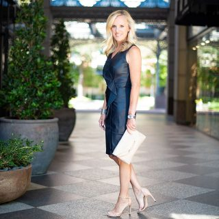 Alicia Wood, Dallas Lifestyle Expert, Dallas Fashion Blogger, Dallas Fashion Blog, Elie Tahari Marsala Dress, Navy Leather Dress, Dallas Crescent Court