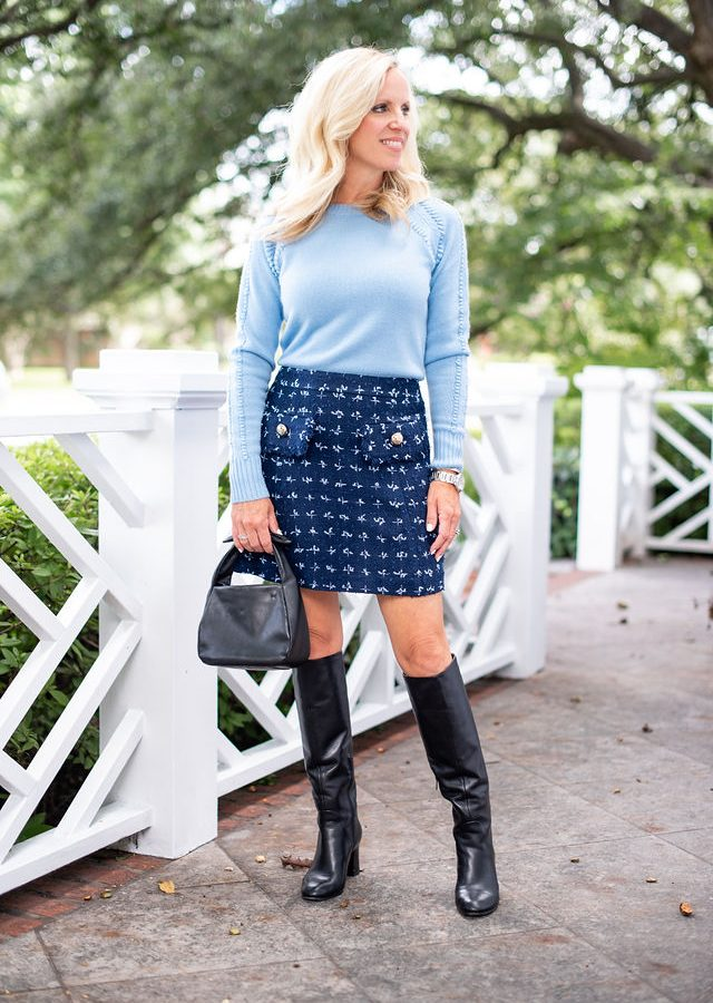 Alicia Wood, Dallas Lifestyle Expert, Dallas Fashion Blogger, Dallas Lifestyle Blogger, Sail To Sable, Sail to Sable Tweed skirt, Sale to Sable Cashmere Sweater, Cuyana Bow Bag