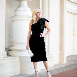 Alicia Wood, Dallas Lifestyle Blogger, Dallas Fashion Blogger, One shoulder Velvet Sheath Dress / Tory Burch Kira Clutch / Stuart Weitzman Nudistsong Sandal / Tory Burch Reva Bangle Watch