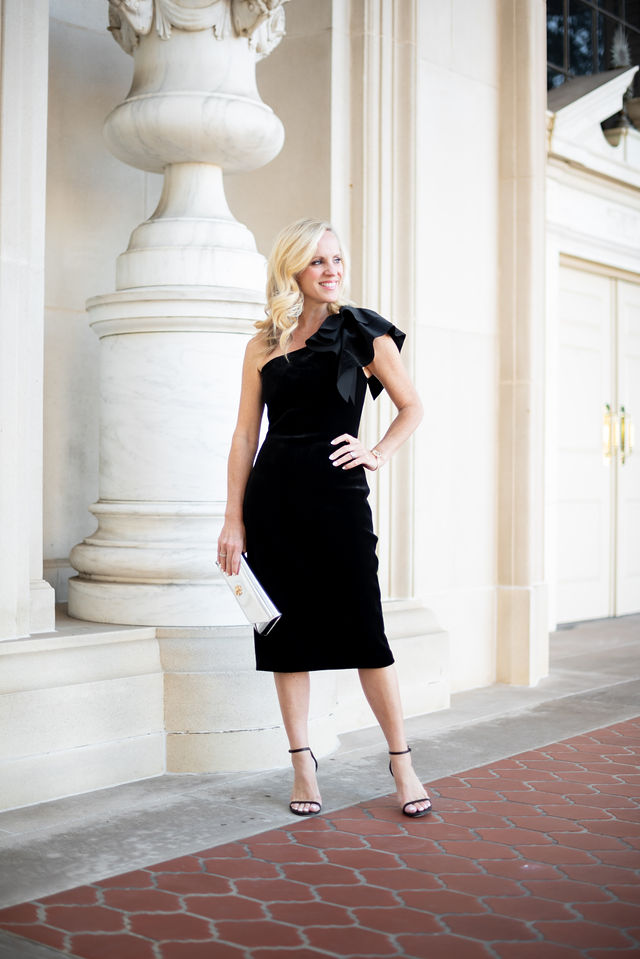 Alicia Wood, Dallas Lifestyle Blogger, Dallas Fashion Blogger, One shoulder Velvet Sheath Dress / Tory Burch Kira Clutch / Stuart Weitzman Nudistsong Sandal / Tory Burch Reva Bangle Watch