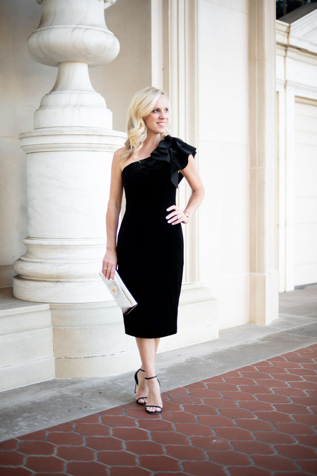 Alicia Wood, Dallas Lifestyle Blogger, Dallas Fashion Blogger, One shoulder Velvet Sheath Dress, Tory Burch Kira Clutch, Stuart Weitzman Nudistsong Sandal, Tory Burch Reva Bangle Watch