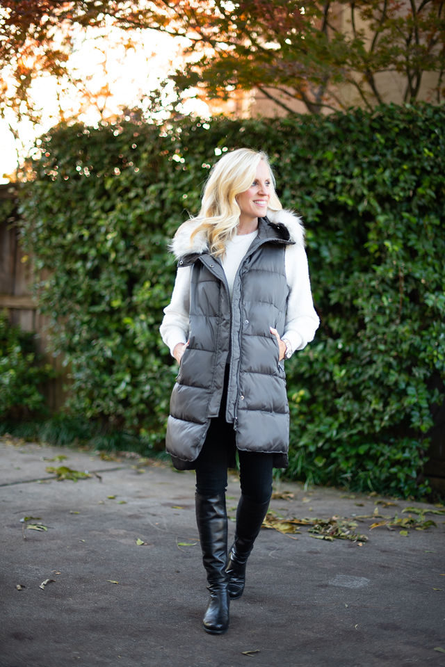 Alicia Wood, Dallas Lifestyle Expert, Dallas Fashion Blogger, Nordstrom Cyber Monday Sale, Fur Trimmed Puffer Vest, Stuart Weitzman 5050 Boots