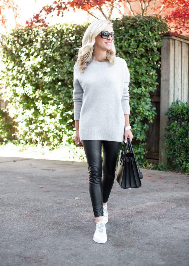 Alicia Wood, Dallas Lifestyle Blogger, Dallas Fashion Blogger, Cashmere Sweater, Faux Leather Leggings, Saint Laurent Sac du Jour