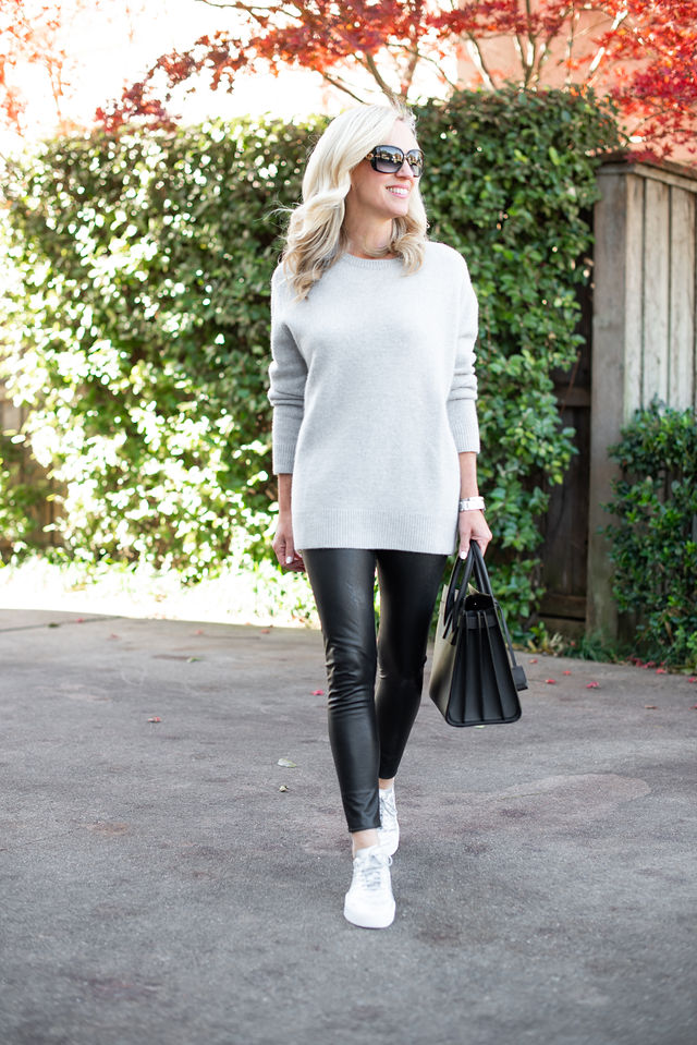 Alicia Wood, Dallas Lifestyle Blogger, Dallas Fashion Blogger, Cashmere Sweater, Faux Leather Leggings, Saint Laurent Sac du Jour