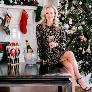 Alicia Wood, Dallas Lifestyle Expert, Dallas Fashion Blogger, What to Wear New Year's Eve, Veronica Beard Robin Dress, Juliska Champagne Flutes