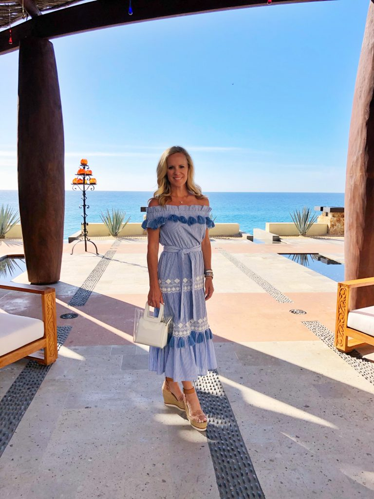 Alicia Wood, Dallas Lifestyle Expert, Dallas Fashion Blogger, The Resort At Pedregal, Tularosa Lana Dress in Getty Stripe, See by Chloe Wedges