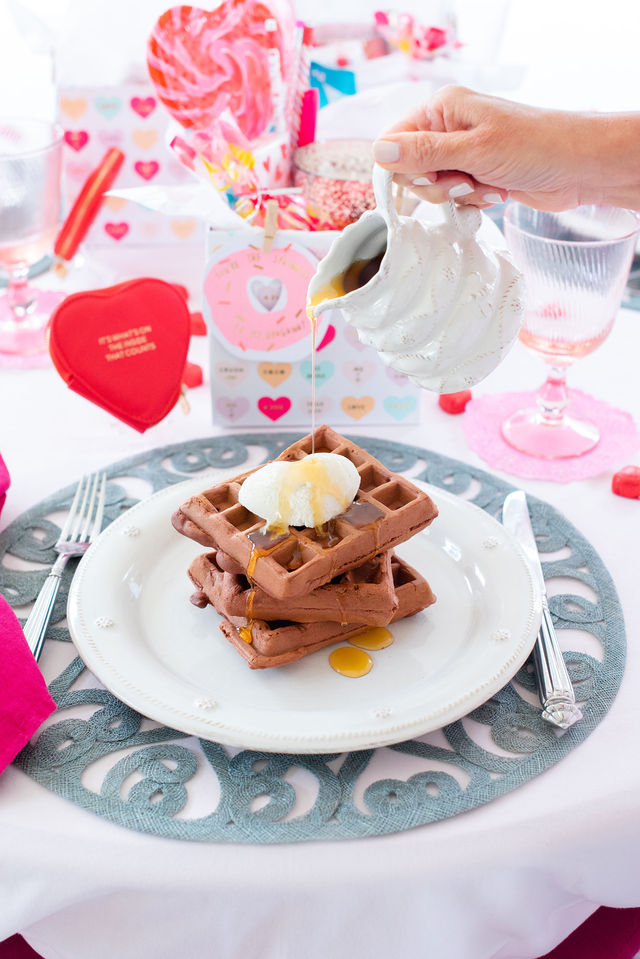 Red Velvet Waffles for Valentine's Day