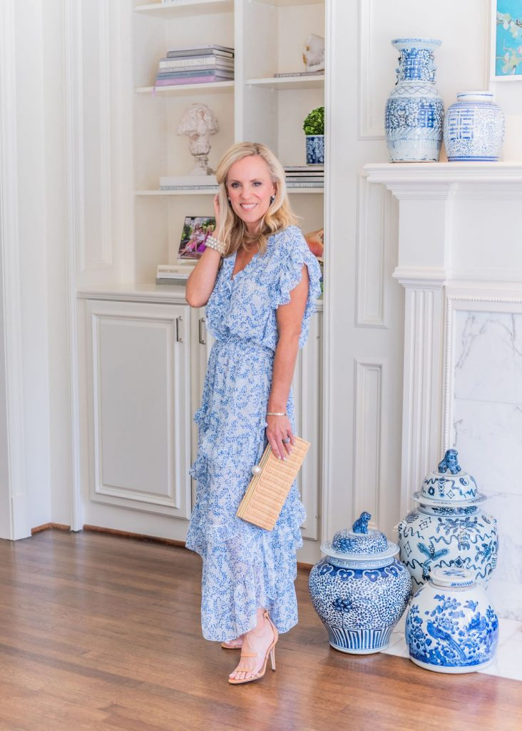 Cute Blue and White Spring Dress with Pamela Munson Clutch