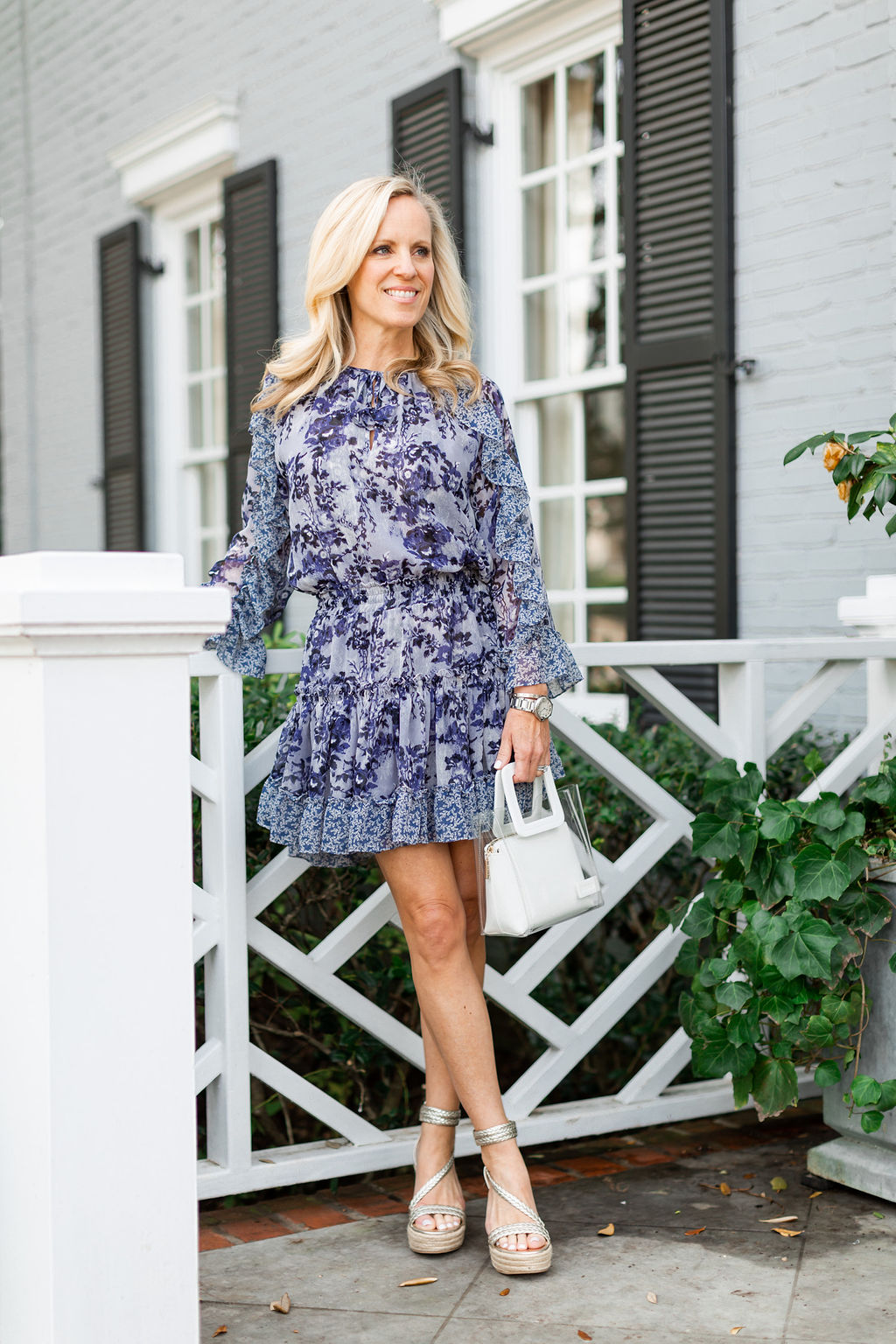 Alicia Wood, Dallas Lifestyle Expert, Dallas Fashion Blogger, Misa Los Angeles Eliza Floral Dress, Staud Mini Shirley Handbag, Gold Wedge Espadrilles
