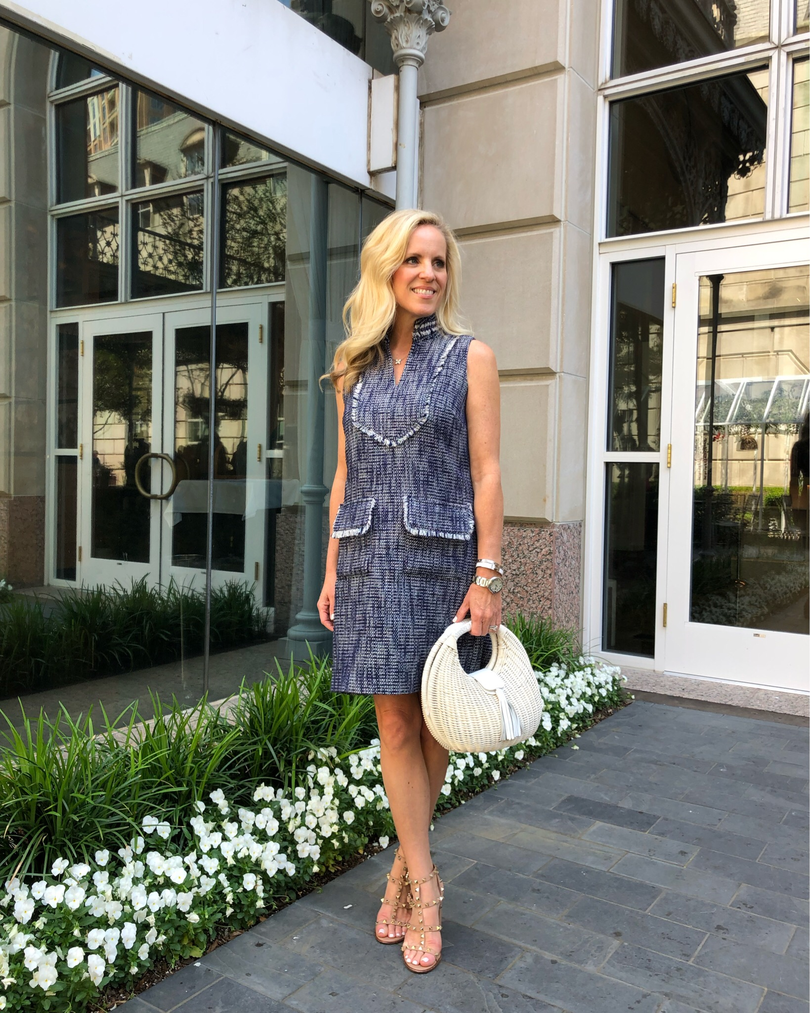 Alicia Wood, Dallas Lifestyle Expert, Dallas Fashion blogger, Sail to Sable Tweed Dress, What to wear to the rewardStyle conference, Spring Tweed Dress,