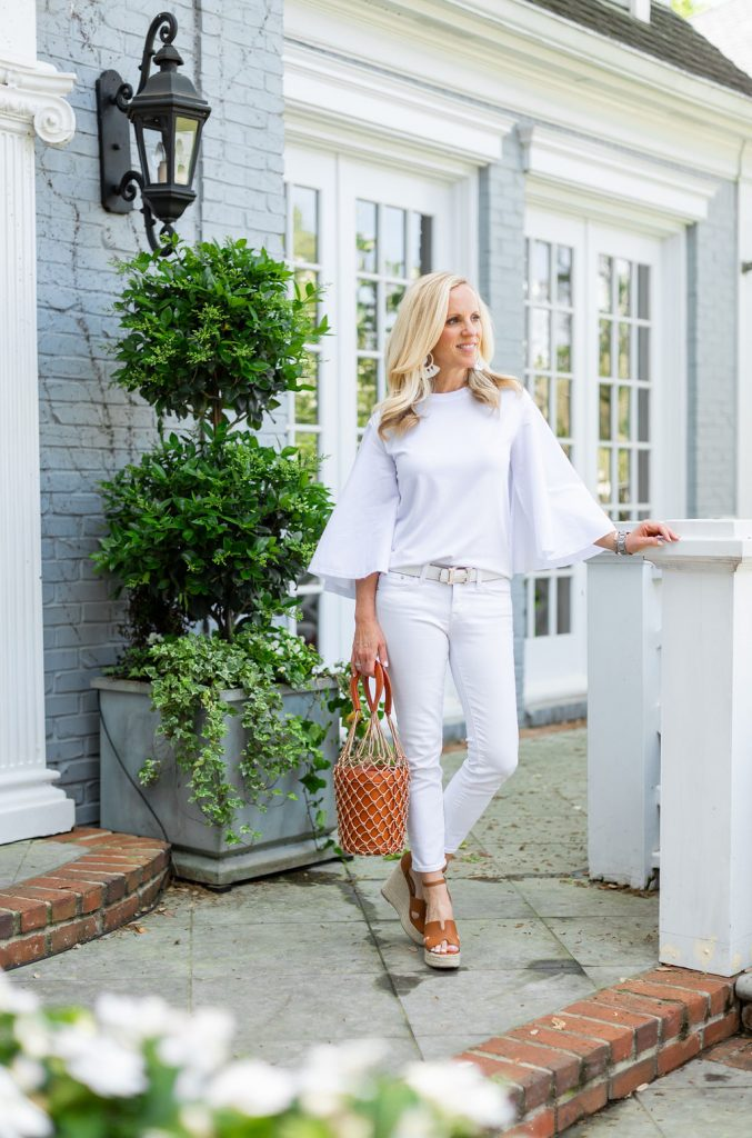 Alicia Wood, Dallas Lifestyle Expert, Dallas Fashion Blogger, Best White Tops for Spring, Southcott Threads Buttercup Poplin, Steve Madden Sirena Wedge