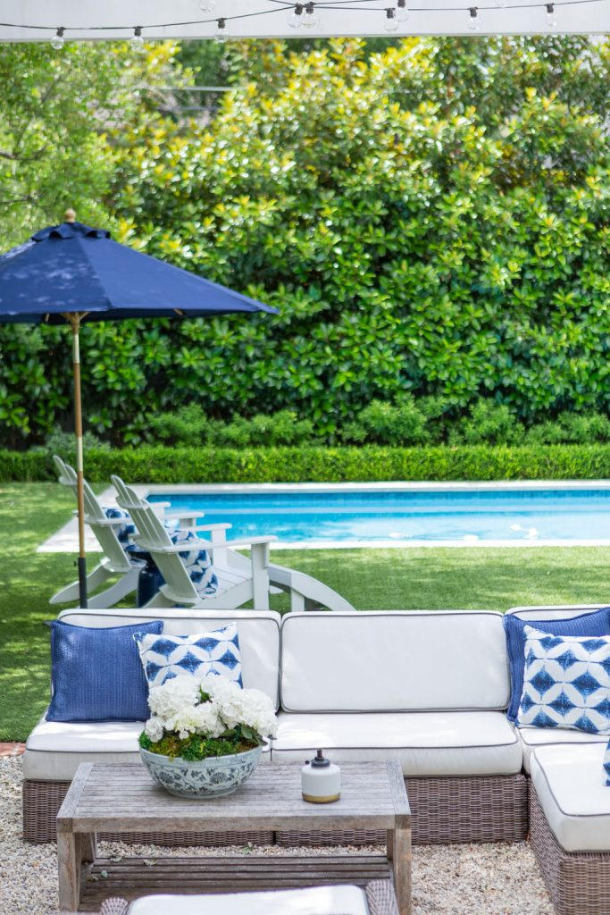 Blue and White Outdoor Living Area
