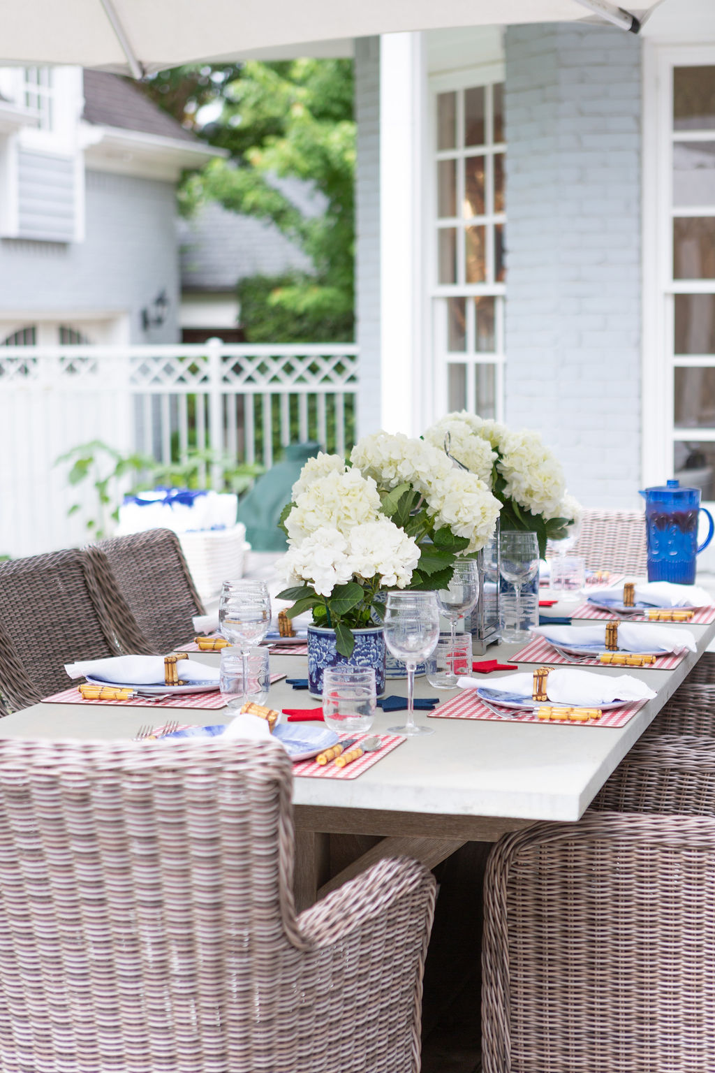 Patriotic Blue and White Tablescape