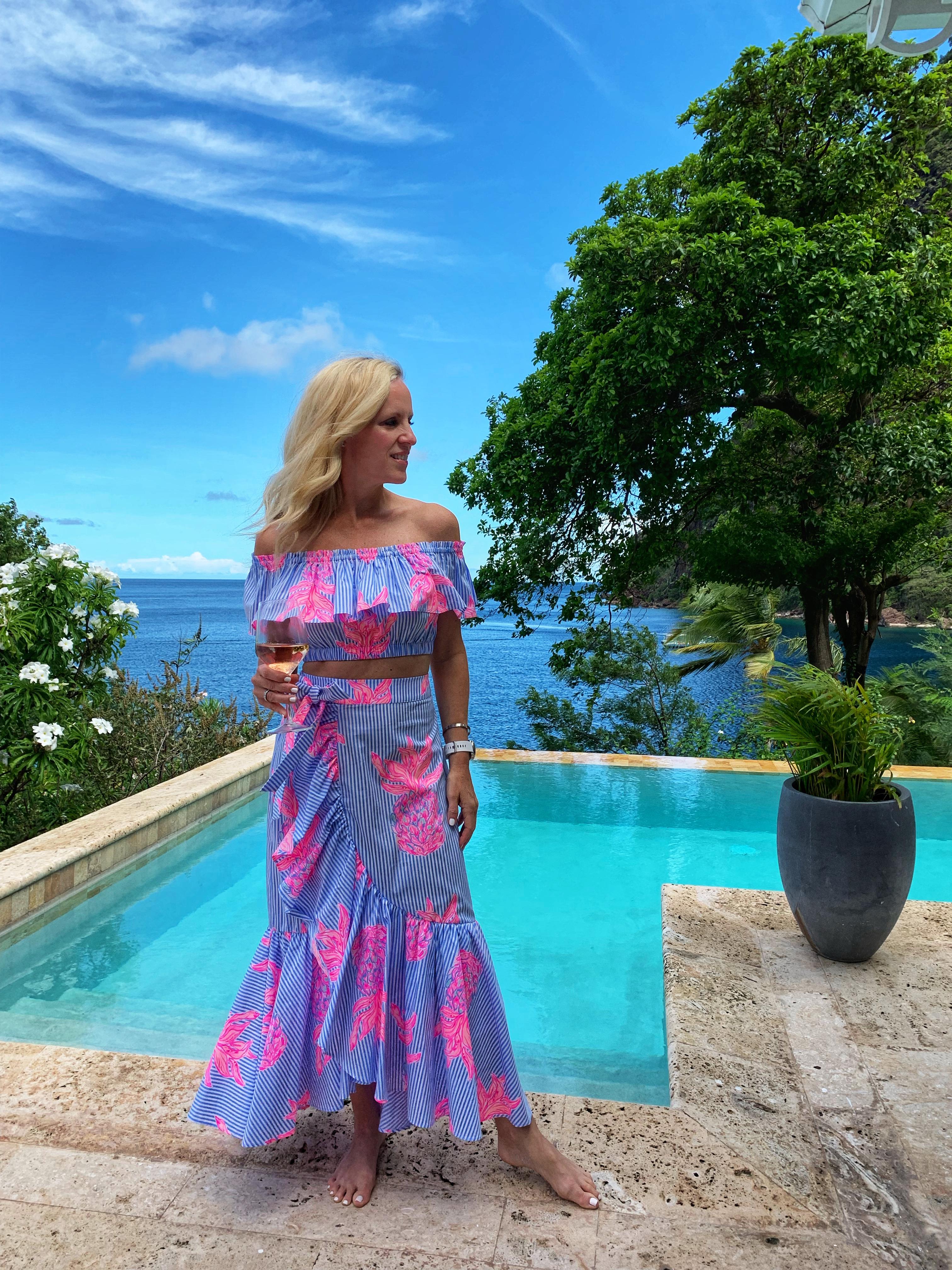 Lilly Pulitzer Maxi skirt, St. Lucia, Sugar Beach, Viceroy Sugar Beach, Alicia Wood, Dallas Travel Blogger