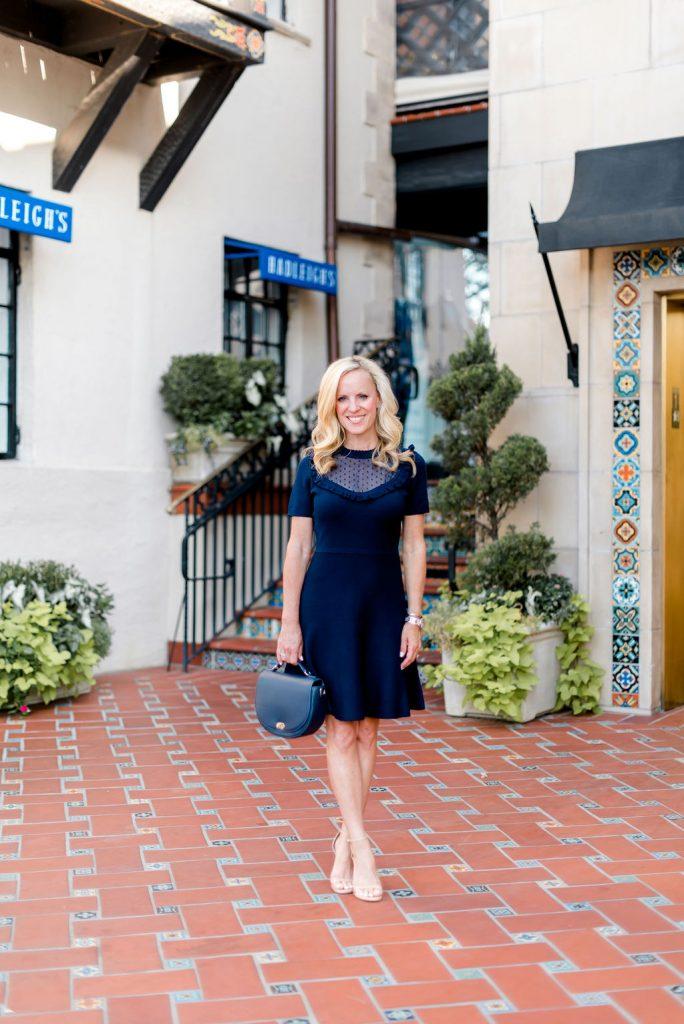 Alicia Wood, Dallas Lifestyle Expert, Dallas Fashion Blogger, Draper James Sheer Yoke A Line Dress, Highland Park Village
