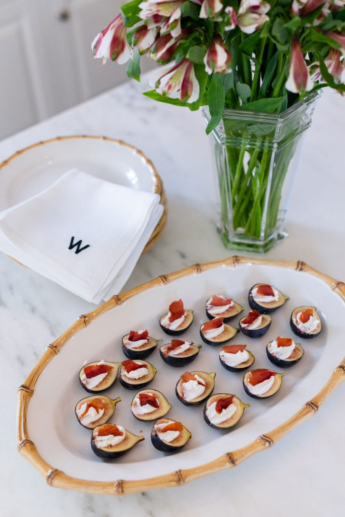 Fresh Fig Recipe, Fresh Figs with Maple Goat Cheese, Juliska Classic Bamboo Platter