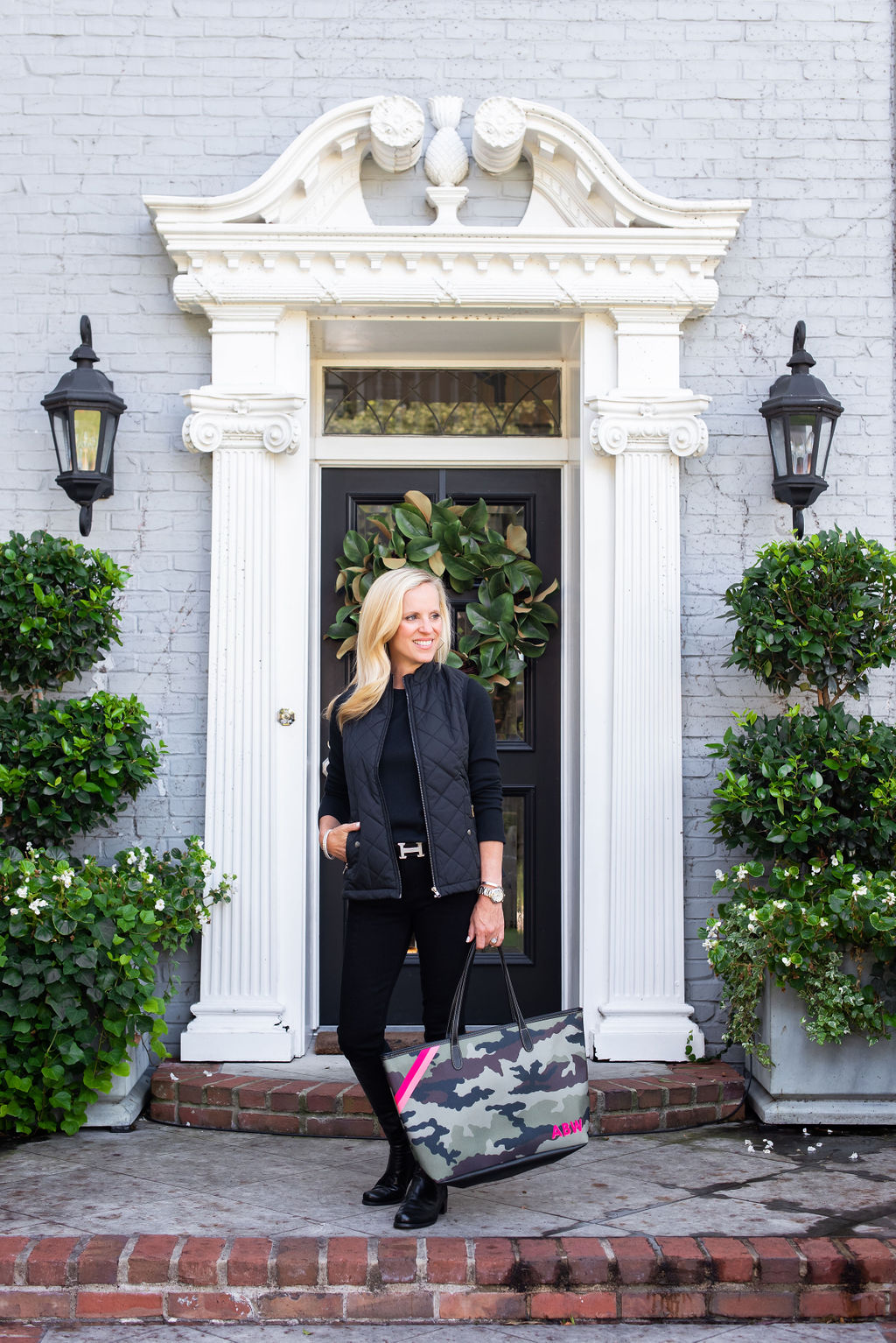 Alicia Wood, Dallas Lifestyle Expert, Dallas Fashion Blogger, Camo Barrington St. Anne Tote, Stuart Weitzman 5050 Boots,