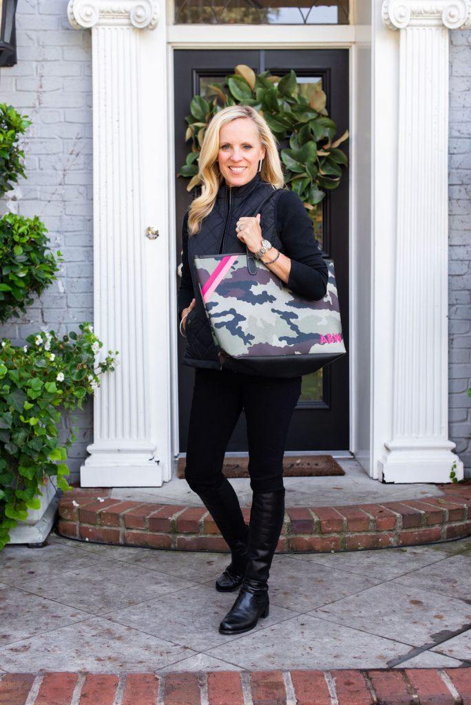 Alicia Wood, Dallas Lifestyle Expert, Dallas Fashion Blogger, Camo Barrington St. Anne Tote, Stuart Weitzman 5050 Boots,
