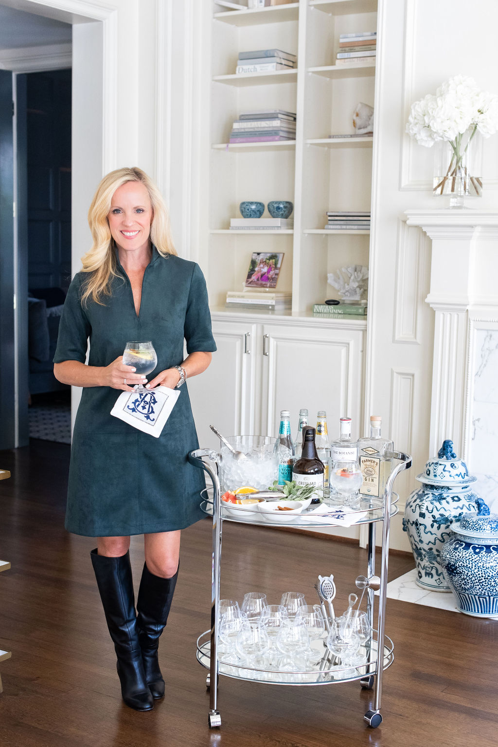 South African Gin and Tonic, Tuckernuck Green Ultra Suede Dress, Classic Bar Cart, Alicia Wood, Dallas Lifestyle Expert, Dallas Fashion Blogger, Dallas Hostess