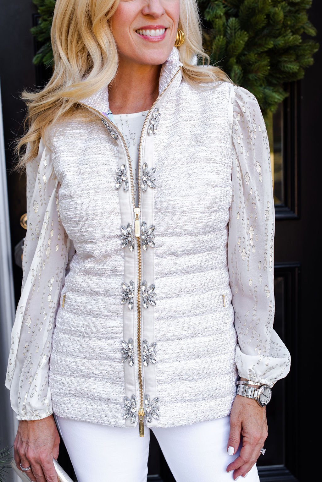 Lilly Pulitzer Gold Puffer Vest, Alicia Wood, Dallas Lifestyle Expert, Dallas Fashion blogger, Dallas Lifestyle Blog, How to Wear Jeans to a Holiday Party