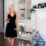 Draper James Black Velvet Dress, Holiday Bar Cart Styling, Alicia Wood, Dallas Lifestyle Expert, Dallas Fashion blogger, Dallas Lifestyle Blog