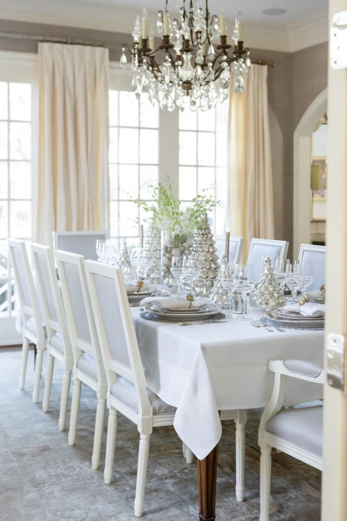 Elegant Silver and Gold Christmas Tablescape, White and Gray dining room, Traditional Dining Room