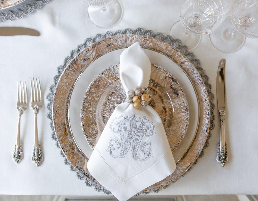 Dogwood Hill Monograms, Silver monogrammed dinner napkin, Juliska Firenze plates,