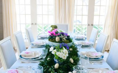 Celebrating Easter at Home with A Blue and White Easter Tablescape