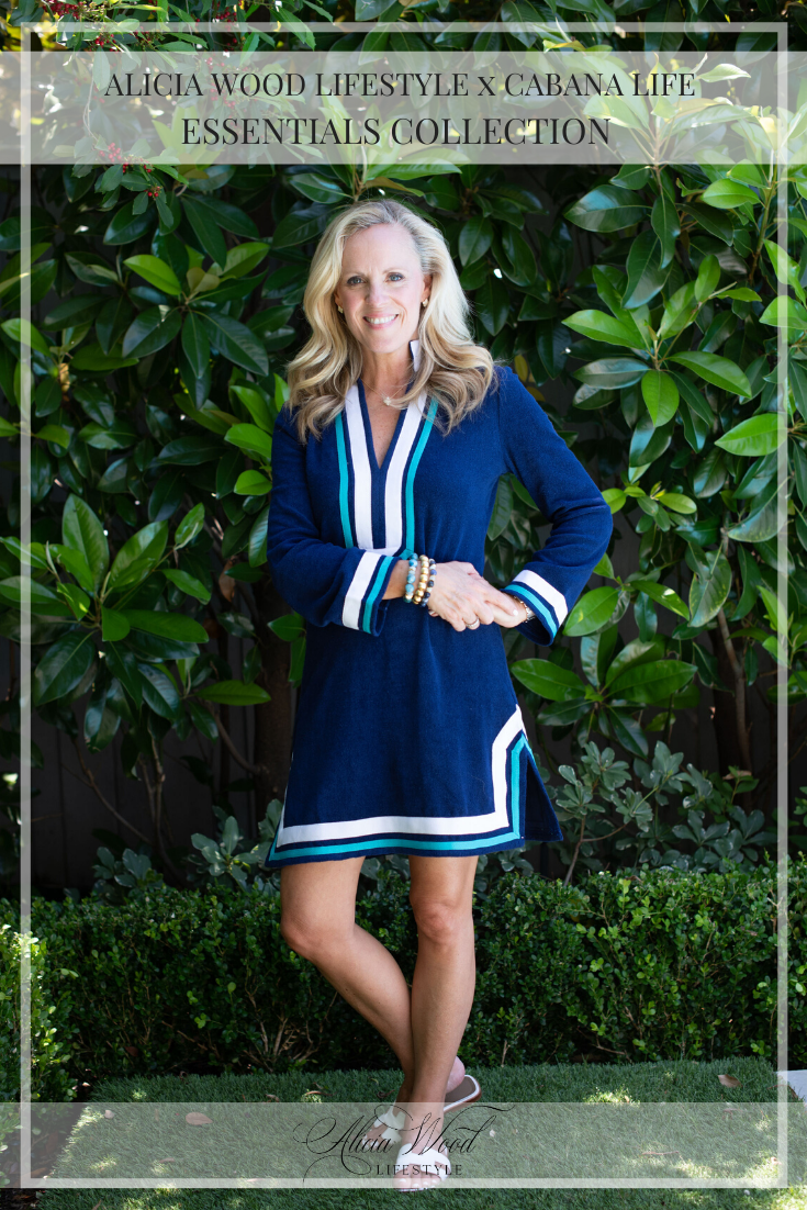 AWL x Cabana Life Essentials Collection - Navy/Turquoise Terry Tunic