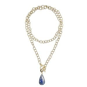 Laurel Necklace with Lapis Charm