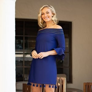 Alicia Wood Lifestyle x Cabana Life UPF 50+ Navy Off The Shoulder Dress