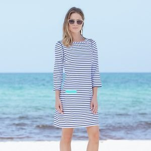 Alicia Wood Lifestyle x Cabana Life UPF 50+ Navy Stripe Cabana Shift Dress
