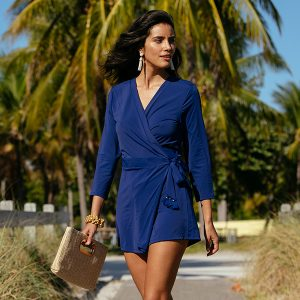 Alicia Wood Lifestyle x Cabana Life Sun Protective Navy Tassel Wrap Romper