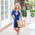 Alicia Wood x Cabana Life-Navy Dress with Embroidery