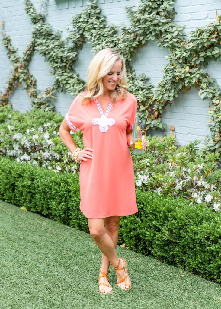 Alicia Wood x Cabana Life Coral Dress with Embroidery
