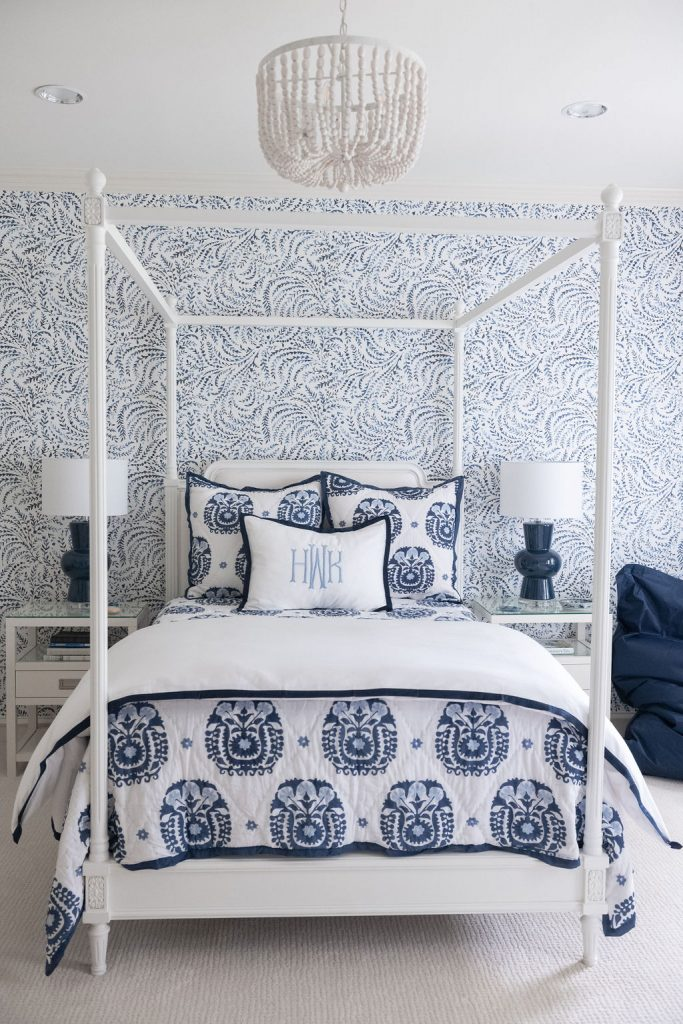 Priano Wallpaper, Serena and Lily Wallpaper, blue and white bedroom, Serena and Lily accessories