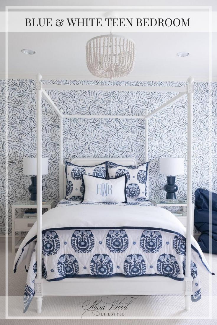 Blue & White Teen Bedroom Pinterest Graphic