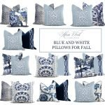 Blue and White Pillows For Fall