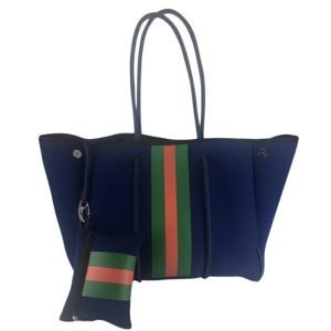 Parker and Hyde Neoprene Navy and Green/Red Stripe Tote