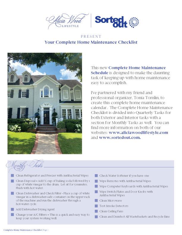 2021 Home Maintenance Checklist
