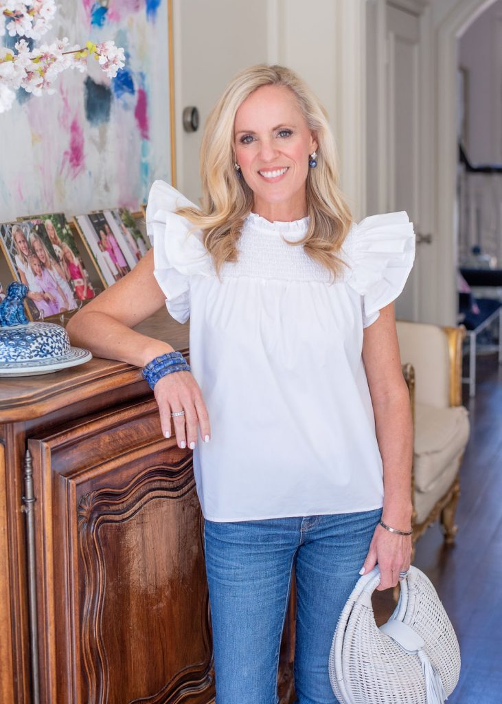 White Sleeveless Top with Ruffles from Jenn Thatcher Clothing Collection